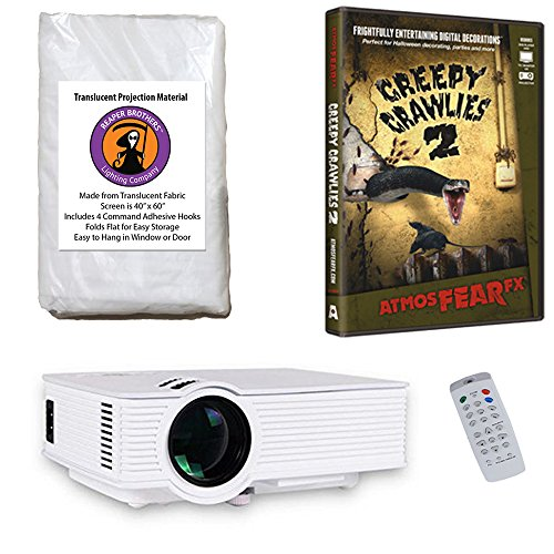 AtmosFearFx Creepy Crawlies Halloween DVD Projector Kit with 1900 Lumen LED Video Projector, Reaper Brothers High Resolution Window Rear Projection Screen