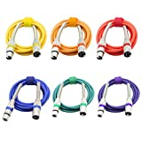 XLR Microphone Cables Cords Male to Female Color Cables-6.5Feet/2Meters Balanced Snake Cord-6 PACK