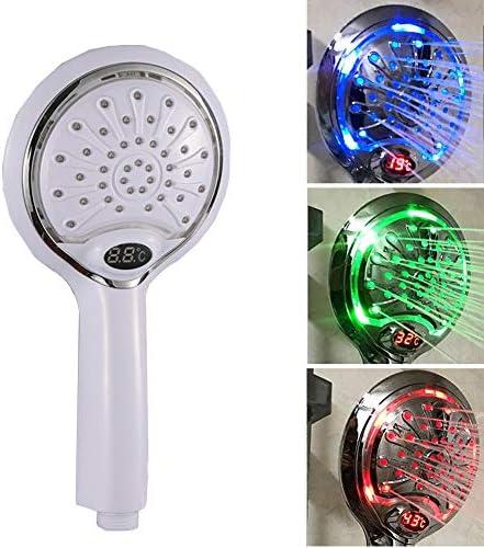 LEDシャワーヘッド、温度センサーデジタルディスプレイ、3色のバリエーション,黒
