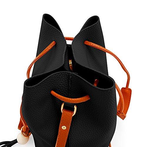 Oct17 Fashion Tassel buckets Tote Handbag, Women Messenger Hobos Shoulder Bags, Crossbody Satchel Bag - Black by OCT17 (Image #5)