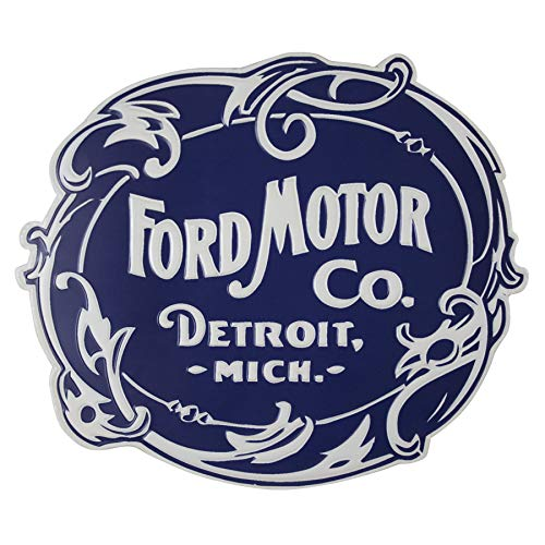 - Vintage Ford Motor Co. Logo Shaped & Embossed Metal Wall Decor Sign, Heavy Gauge .35mm Iron, Sawtooth Hanger On Back For Displaying, 17