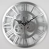 Timelike 13 Inch European Antique Gear Wall Clock Vintage Mechanical Gear Clock Large Gear Wall Clock for Art Home Living Room Wall Decoration (Silver)