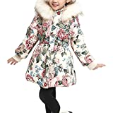 OCHENTA Girls' Floral Thick Quilted Padded Winter Coat with Faux Fur Trim Hood Beige Tag 130-47''(6-7Y)