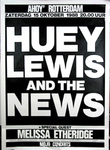 Huey Lewis Melissa Etheridge 1988 Tour Concert Poster
