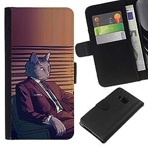 """Be-Star la tarjeta de Cr¨¦dito Slots PU Funda de cuero Monedero caso cubierta de piel Para HTC One M7 ( Juego del gato Arte de dibujos animados gris felina"""" )"""