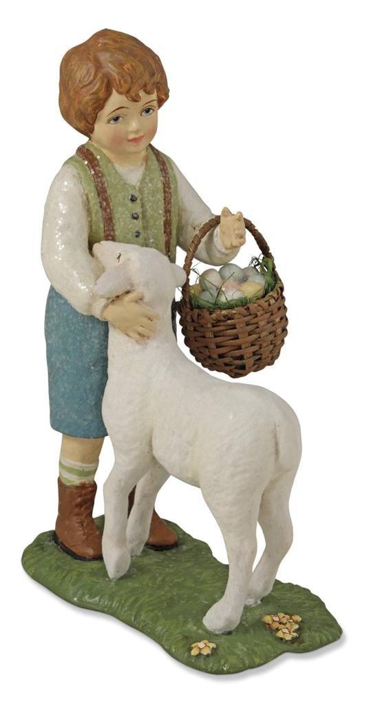 Bethany Lowe Lamb Hugs Boy Figure