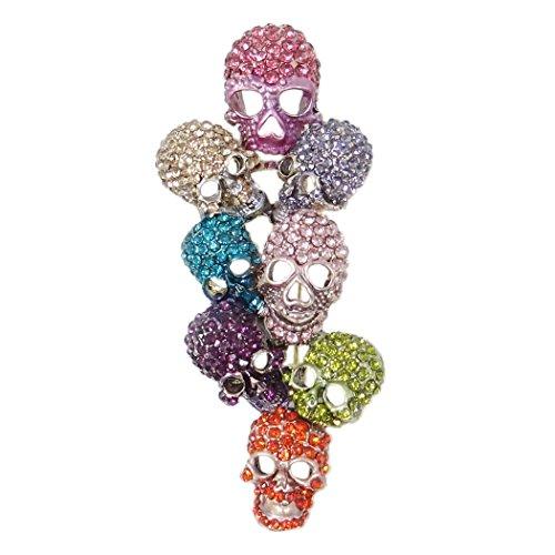 EVER FAITH Austrian Crystal Halloween Gorgeous 8 Skeleton Head Cluster Brooch Multicolor Gold-Tone