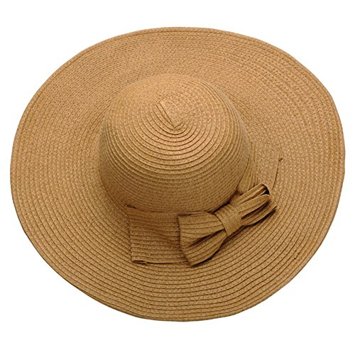Amazon #LightningDeal 70% claimed: Ayliss Women Floppy Derby Hat Wide Large Brim Beach Straw Sun Cap