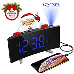PICTEK Projection Alarm Clock, FM Radio, 5'' Dimmable LED Curved Screen, Adjustable Ceiling Sleep Timer for Kids Bedrooms, 12/24 Hour, Snooze Function, USB Charging, Blue