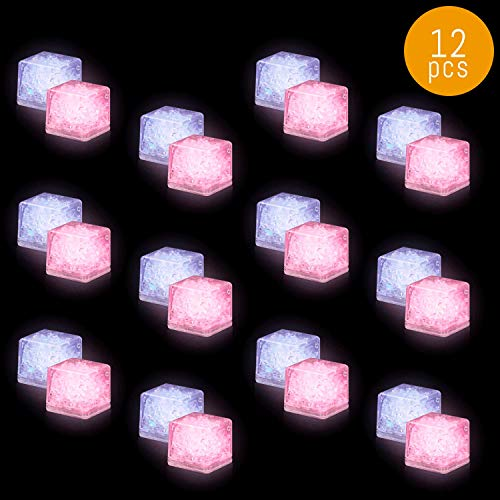 Lumistick LED Flashing Ice Cube - Water Activated Flashing Ice Cubes | Colorful Blinking Illuminates Glowing for Drinks Party Favor (12 Ice Cubes) -