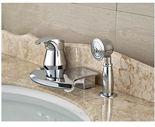 Gowe Brief Bathroom Basin Deck Mounted Sink Faucet Waterfall Mixer tap With Hand Shower Chrome Finished 0
