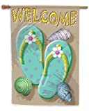 Toland - Welcome Flip Flop - Decorative Double Sided Welcome Beach Relax USA-Produced House Flag