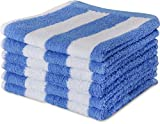 Luxury Cotton Washcloths in Cabana Stripe (6-Pack, Blue, 13x13 Inches) - ...