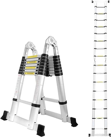 Klappleiter Stehleiter Rutschfester Haushaltsleiter 150 kg Belastbarkeit Ausziehbare Leiter 3.8M Alu Teleskopleiter