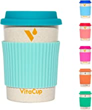 VitaCup Light Weight Coffee Tea Mug with Silicone Lid | Takeaway To Go Travel | Bamboo Fiber | Reusable Environmentally Eco Friendly Portable Dishwasher Safe |12 oz Cup (Aqua)