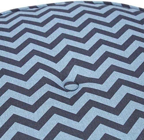 Relaxdays, blau-schwarz Hocker 2er Set, mit Stoff ohne Lehne, runder Pouf, gepolsterter Fußhocker, flach, Gemustert, Standard