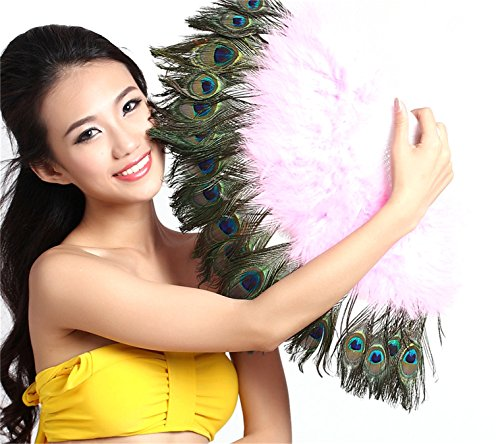 Peacock Bra Costume (Womens Belly Dance Accessories Peacock Feather Fan Dancing Accessories)