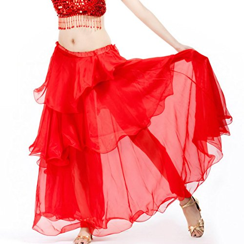 Belly Dance Costume Hip Scarf Satin Chiffon Tiered Long Skirt Petticoat Halloween Party (Costumes Halloween Party Expert)
