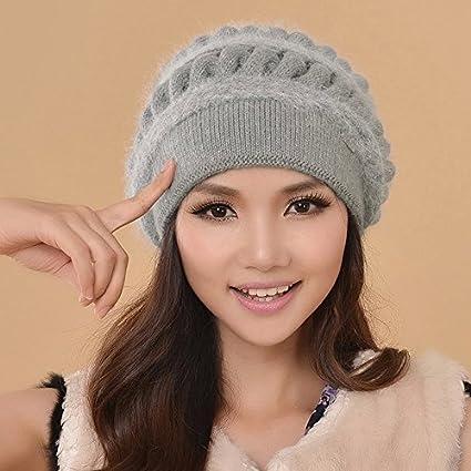 BTBTAV Sombrero de Invierno señoras de Mediana Edad Sombreros Tejidos de  Lana de Lana Gruesa 7630896bb727