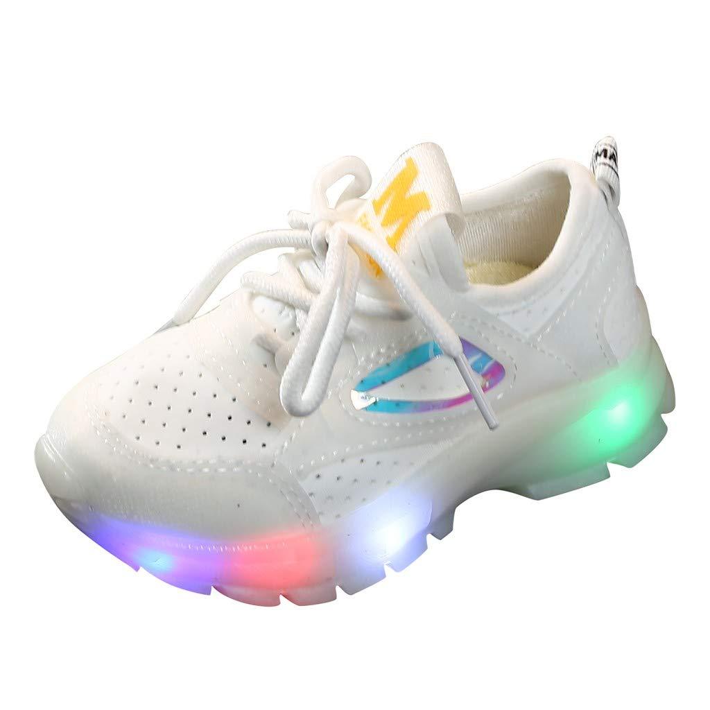 Kauneus Kids Boys Girls Breathable LED Light Up Flashing Sneakers for Children Shoes(Toddler/Little Kid/Big Kid) White by Kauneus Kid Shoes NEW
