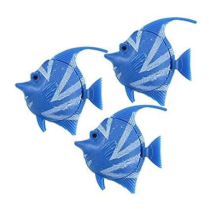 eDealMax 3-piezas de plástico acuario de peces tropicales conjunto de ornamento, Azul Blanco