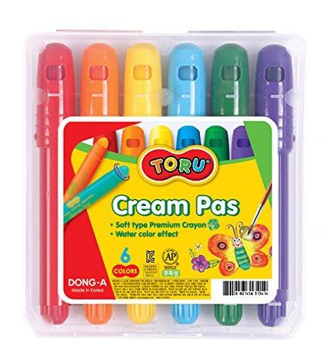 Dong-A TORU ソフトタイププレミアムクレヨンクリームパス6色鉛筆おもちゃクラフト水彩