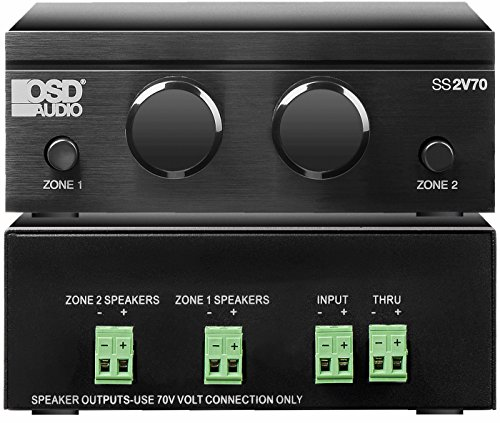 SS2V70 Mono 70V 2-Zone Brushed Aluminum Finish Speaker Selector with 2X Built-in 100W Volume Controls and Straight Pass Thru Output - OSD Audio ()