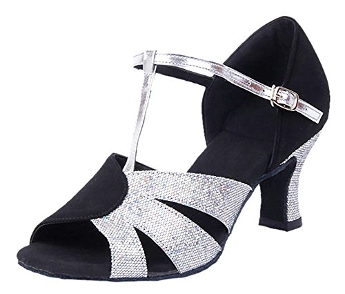 Honeystore Women's Heel Shoes Glitter Latin T Dance Strap Silver 7rdwqF4r