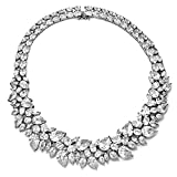 "Cheryl M Sterling and CZ 29mm Fancy Collar Necklace 15"" QCM102"