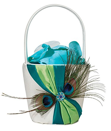 Lillian Rose Peacock Blue Wedding Flower Girl Basket