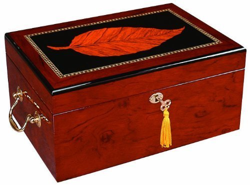 Tobacco Finish Wood - Deauville 100 Cigar Humidor, High Gloss with Tobacco Leaf Inlay, Maple Finish, Holds 100-150 Cigars, by Quality Importers