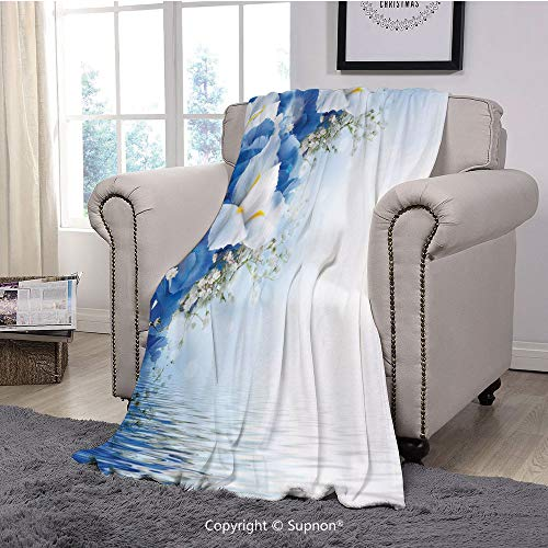Throw Blanket/Super Soft Fuzzy Light Blanket,Light Blue,Blue Hydrangeas and White Irises Over The Sea Romantic Bouquet Dreamy,Blue Light Blue White(51