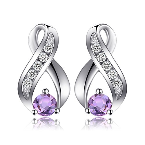 JewelryPalace 0.29ct Genuine Amethyst Anniversary Studs Earrings 925 Sterling Silver
