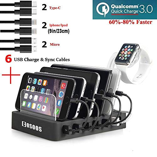 COSOOS Fastest Charging Station with QC 3.0 Quick Charge,6 USB Cables(3 Types),iWatch Holder,Universal 6-Port Charger Station Dock,Charging Docking Stand for Multiple Devices,Phones,Tablets by COSOOS