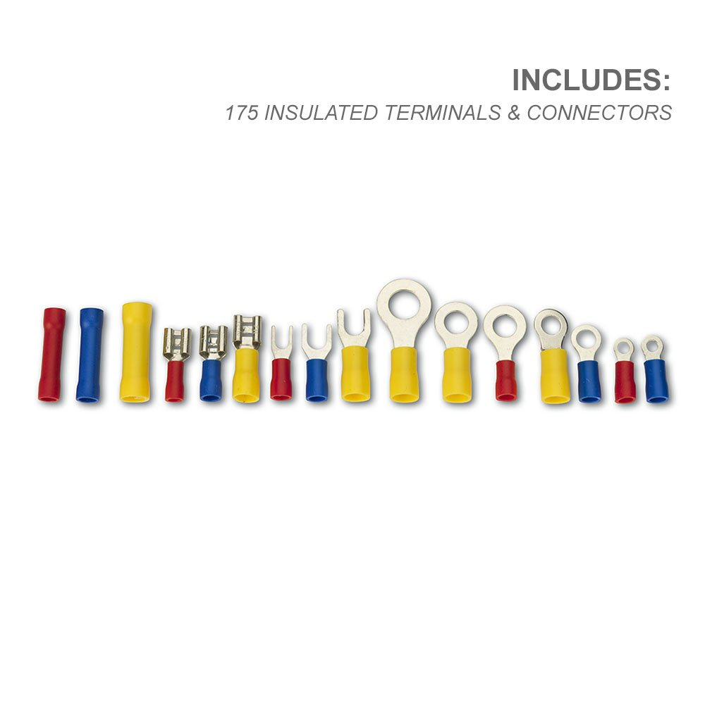 175 Piece Set Neiko/® 50413A Wire Terminal and Connection Kit with Crimpers//Wire Stripper