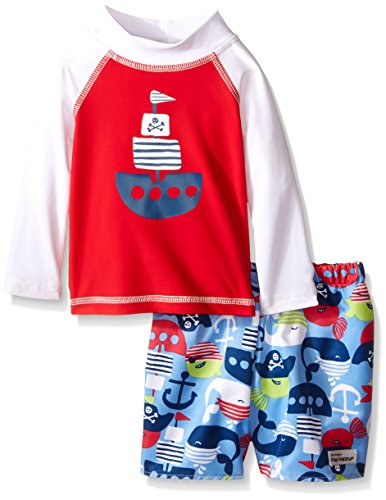 (Flap Happy Boys' UPF 50+ Graphic Rash Guard and Infant Swim Diaper Trunk Set, Life/Pirate Kai, 24 Months)