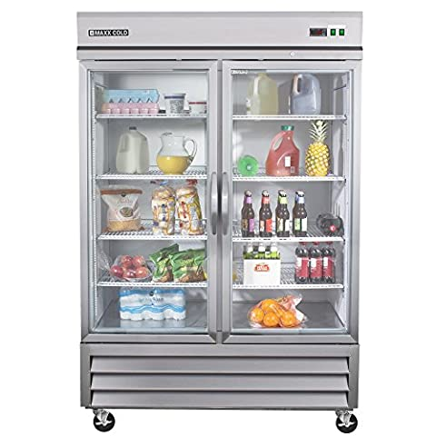 Maxx Cold MXCR-49GD Two Door Glass Reach-in Upright Refrigerator – All Stainless Steel