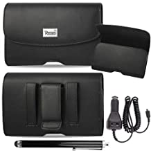 Horizontal Executive Leather Case with Magnetic closure with belt clip and belt loops fits Motorola Moto G 2014 (2nd Generation) with Otterbox on it. Comes with stylus pen and Car Charger.