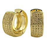 Lemonade Four Row CZ Hoop Huggie Earrings Micro Pave