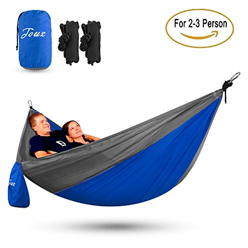 Touz Double XL Size Parachute Lightweight Portable Nylon Fabric Travel Camping Hiking Hammock (Blue/Grey), 2-3 Person
