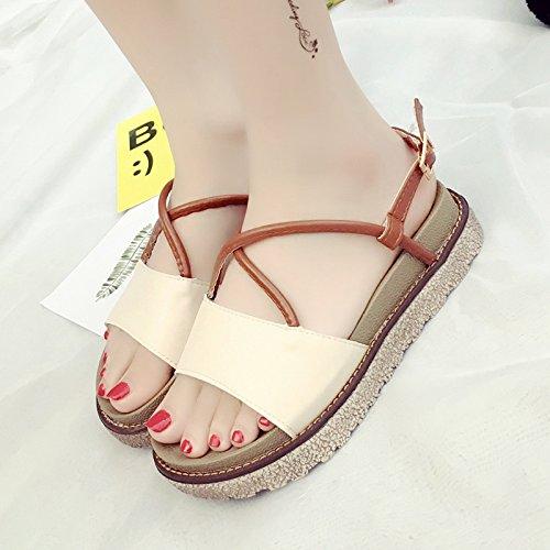 RUGAI-UE Sandalias de suela gruesa mujeres estudiantes plana Zapatos de verano Beige