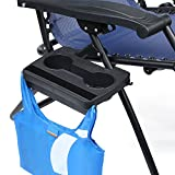 Compact Utility Tray for Zero Gravity Chair, Mini Tray for Placing Phone / Pad / Cups / Bottles / Books / Magazines ... with Hooks Design for Hanging Bags