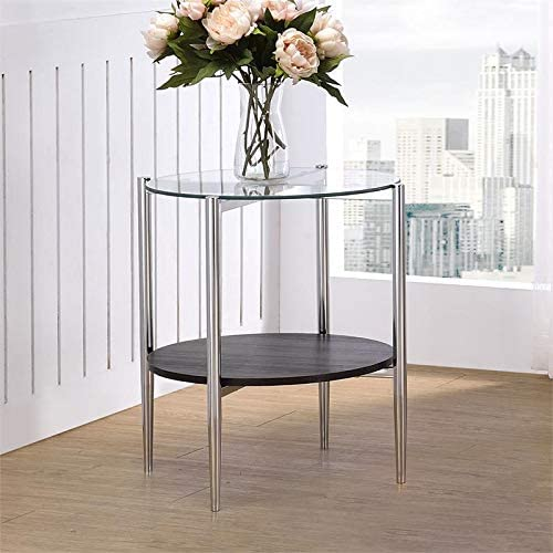Editors' Choice: Steve Silver Bayliss Clear Tempered Glass Modern End Table