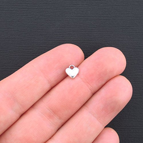 Tiny Heart Charm - 20 Tiny Heart Charms Antique Silver 2 Sided - SC3375 Jewelry Making Supply Pendant Bracelet DIY Crafting by Wholesale Charms