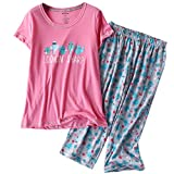 ENJOYNIGHT Women's Sleepwear Tops with Capri Pants Pajama Sets (Large, Cactus)