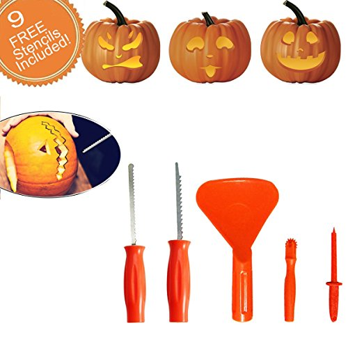 CloverTale Halloween Pumpkin Carving Kit with Designs stencils, set of 5 tools and 9 design stencils