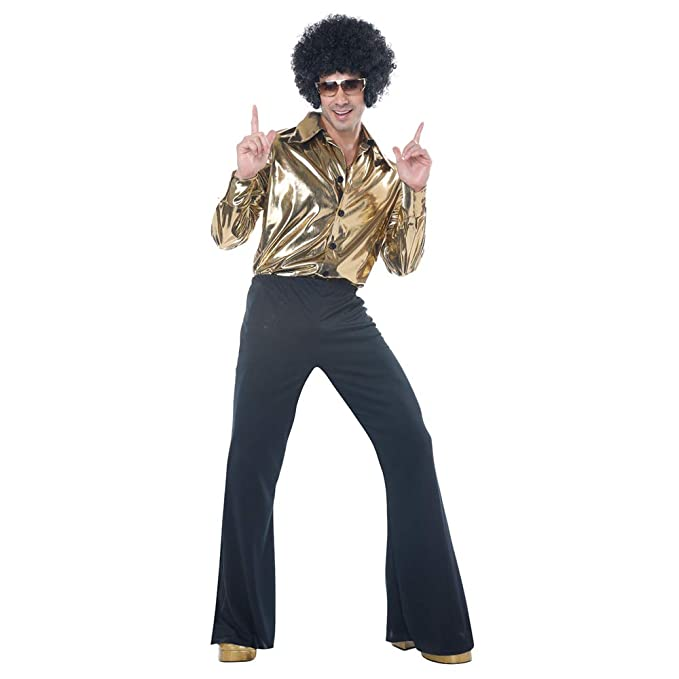 70s Costumes: Disco Costumes, Hippie Outfits Mens Disco King 1970s Halloween Costume Gold $46.99 AT vintagedancer.com