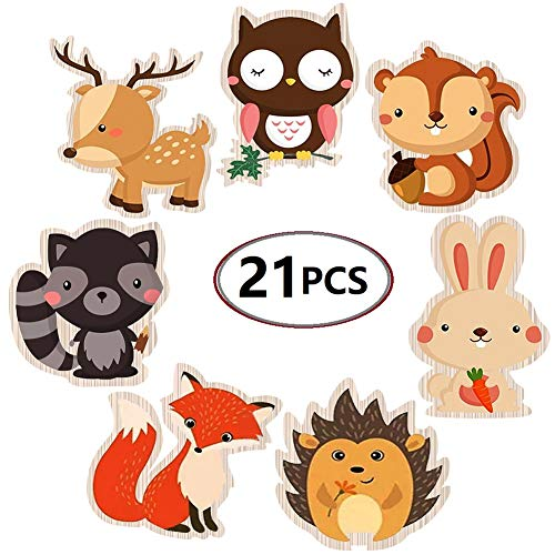 - Cadeya Double-Sided Woodland Creatures Cutouts - Forest Animal Centerpiece for Woodland Baby Shower Decorations or Birthday Party - Set of 21