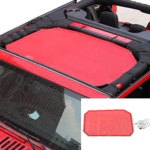 SunShade Top Cover Provides UV Sun Protection for Jeep Wrangler JK JKU 2007-2017 (Red 2 Doors)
