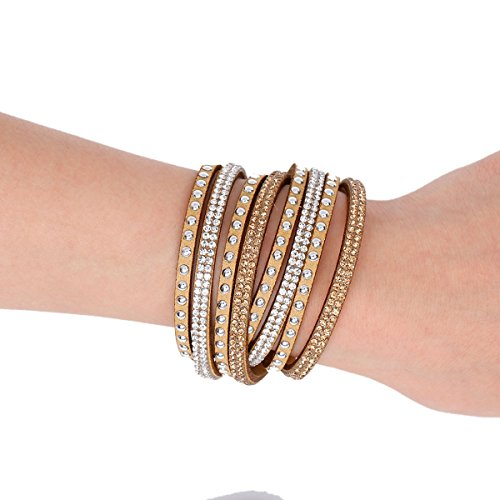 (SS Suede Velvet Multi Layer Wrap Women Teen Girls Bracelet with Rhinestones Slake Button Clamp Adjustable (Khaki))
